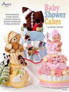 Learn step-by-step to make three diaper cakes by Bendy Carter, each using approximately 72 newborn diapers. These practical and unique designs include a Time Out Chair, A Star is Born and a Bear Cake. Then you can creatively decorate them with 21 crochet designs. Projects include booties, blanket trims, sock trims, a headband, security blankies, pacifier holders, a bottle cover and more. All are mad