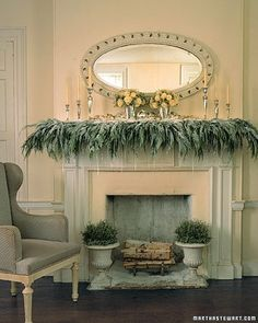 Christmas mantel. Holiday entertaining board guest curated by Henri Bendel PR gal, Corie.