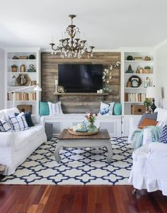 Cozy Spring Home Tour. Cozy Spring Home Tour - Blue, White and Aqua living room with rustic accents, pallet wall. The Rustic Living Room Coastal Living Rooms, Chic Living Room, Small Living Rooms, Home Living Room, Living Room Designs, Modern Living, Simple Living, Living Spaces, Tiny Living