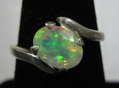 Natural Ethiopian Opal Ring - Oval Cut -  Sterling Silver  - Green Birthstone Jewelry   ID800 on Etsy, $75.00