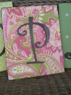 Fabric covered canvas with child's initial
