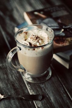 A spiced chai tea latte with a little indulgent whipped cream.  One of my favorites