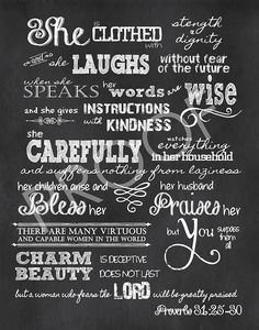 for laundry room | Scripture Art 8x10 - Proverbs 31:25-30 Chalkboard. $15.00, via Etsy.
