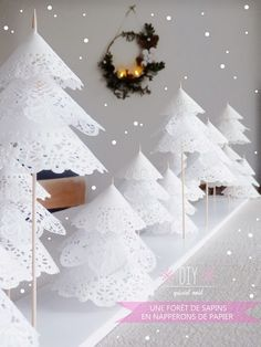 These Paper Doily Trees are pretty as a picture and you can display them in so many different ways. Check out the Tulle Tree and Paper Roll Christmas Tree too!