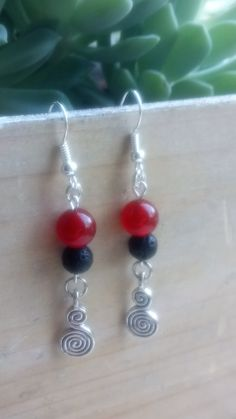 Beautiful Dangle and Drop Earrings with Carnelian Stones and Black Volcanic Lava Rock Beads and Spiral Charms by DriftwoodGirl on Etsy