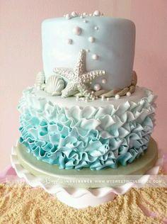 Seashell ombre ruffle fondant cake.