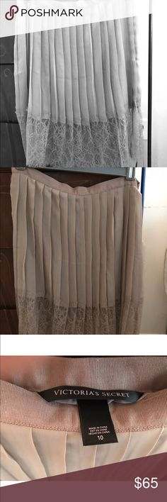 Victoria's Secret Taupe Pleated lace skirt 10 new New but no tag (mail order). Awfully cute and pretty short and sexy! Very soft and delicate. Ribbon waist with closure. No stretch. Victoria's Secret Skirts Mini