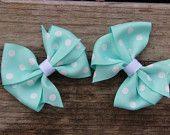 Pinwheel Hair Bow - Tiffany Blue and White Polka Dot (Set of 2)