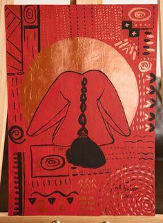 ORIGINAL MALEREI Zeichnung ART Kreativ Ethno Acryl Akt Nude Erotik 30*42 cm