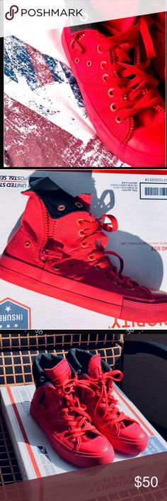 ⭐️Rare Levi's zip ex high Twill sneaker I want these💕 but they don't fit🙁  Nowhere to be found online, so I can't have them!  Amazing Levi's fire engine red hitops. Levi's logo is everywhere, on the rubber sole, shoe tab even the eyelets where the lace is thread!  Women's size 7.5 Twill canvas  Zippers on the outside and running down the center on each tab.  Preloved: soles are as shown, but the rest looks amazing. would qualify for EUC🙂  Run true to size Levi's Shoes Athletic Shoes