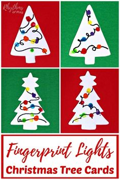 Fingerprint Lights Christmas Tree Card - This fun sensory craft allows your child to create a memorable holiday card to send.or attached to a gift! The receiver will treasure this handmade goodie, too. Holiday Crafts For Kids, Easy Christmas Crafts, Crafts For Kids To Make, Homemade Christmas, Simple Christmas, Diy And Crafts, Art Crafts, Christmas Tree Cards, Holiday Cards