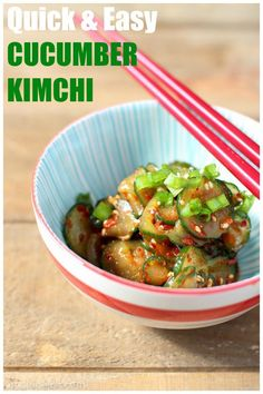 Cucumber kimchi is a super simple condiment that adds all of the spice and tang of kimchi but only takes about 20 minutes to make ­­­- no fermenting necessary! |www.kimchichick.com