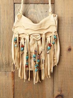 cream fringe purse