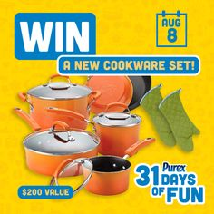 PUREX $$ 31 Days of Fun Sweepstakes: Win a New Cookware Set ($200 Value) (8/8)!