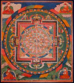 The essence of the thunderbolt  Thangka of Mandala of Vajrasattva  18th century, Tibet