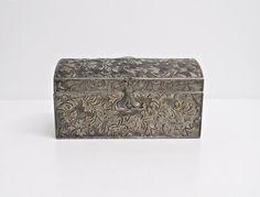 Silver Tone Metal Treasure Chest - Silver Tone Chest - Jewellery/Jewelry Chest