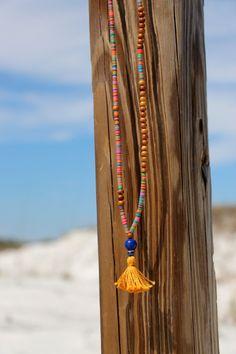 Wood Bead Tassel Necklace, Colorful African Vinyl with Sandalwood, Gold Tassel…