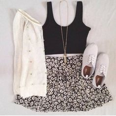 Brandy Melville outfit | crop top | cute outfit | floral skirt
