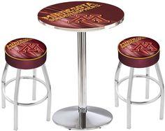 Minnesota Golden Gophers D2 Chrome Pub Table Set. Available in two table widths. Visit SportsFansPlus.com for Details.