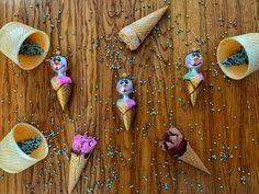 Blown Glass, Snowman, Ice Cream, Drop Earrings, Ornaments, Jewelry, No Churn Ice Cream, Jewlery, Bijoux