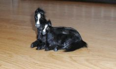 Miniature Mom & Baby Horses Made from Goat fur