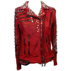 Pre-owned Balmain Red Leather Studded Motorcycle Jacket ($7,900) ❤ liked on Polyvore featuring outerwear, jackets, tops, leather jacket, red jacket, eyelet jacket, heavy jacket, studded moto jacket and biker jacket