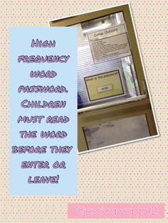 High frequency word password on the classroom door. Eyfs Classroom, Classroom Door, Classroom Displays, Early Years Classroom, Reception Class, Continuous Provision, Phonics Reading, Early Reading, High Frequency Words