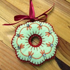 Wool Felt Embroidered Pistachio Wreath Ornament by FHGoldDesigns