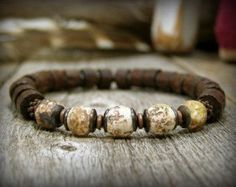 Mens Bracelet Beaded Bracelet Mens Jewelry by StoneWearDesigns