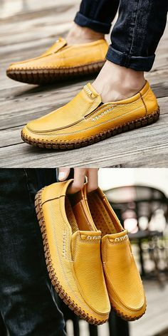 Handmade Summer Men's Leather Shoes Casual Slip On Driving Loafers Stitching Shoes Mens Casual Leather Shoes, Casual Shoes, Men's Leather, Exclusive Shoes, Ankle Boots Men, Business Shoes, Best Shoes For Men, Driving Loafers, Mens Fashion Shoes