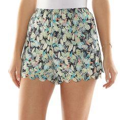 LC Lauren Conrad Scallop-Hem Soft Shorts.