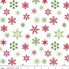 On Sale - Christmas Red and Green Holiday Snowflake fabric from Riley Blake.  Modern designer cotton fabric.  Perfect for Christmas and holiday quilts, sewing and crafts.  On sale now in Etsy by SouthernStitchFabric