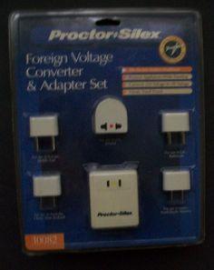 Voltage Converter and Foreign Travel Plug Adapter Set Proctor Silex 10082 Unused #ProctorSilex