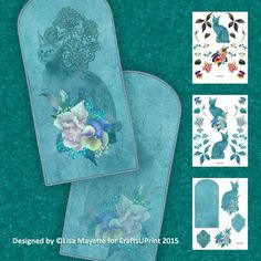 Art Deco Cat, Lace & Flowers Decoupage Shaped Mini Kit - This ethereal card features the deep teal blue silhouette of a statuesque cat embellished with flowers & lace.  A soft, romantic and warm greeting for any cat lover's special occasion.  Art by Hafapea & Jaguarwoman.  #CardMakingKits #CraftsUPrint #LisaMayette #Hafapea