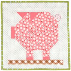 Farm Girl Fridays Week 14 with Lori Holt of Bee in My Bonnet - pig quilt block Star Quilt Blocks, Quilt Block Patterns, Pattern Blocks, Farm Animal Quilt, Farm Quilt, Small Quilts, Mini Quilts, Quilting Projects, Sewing Projects