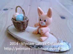 Lapin et panier (pâques) - Pâte polymère Fimo (polymer clay) - 2014 - Myriam Lakraa Créations
