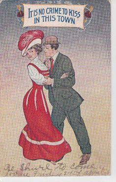 Couple Kiss art romance Its no Crime to Kiss old 1900s postcard