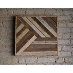 Reclaimed Wood Wall Art, Decor, Lath, Pattern, Geometric, 19 x 19 ($68) ❤ liked on Polyvore featuring home, home decor, wall art, geometric wall art, reclaimed wood wall art, home wall decor and geometric home decor