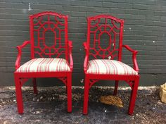 Red Chinese Chippendale Armchairs.... I really need to find chairs :/
