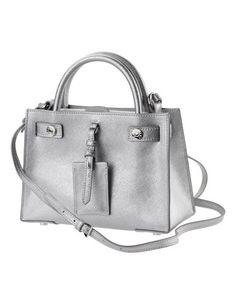 Kleine Handtasche im Metallic-Look mit Trageriemen und abnehmbarem Umhängeriemen