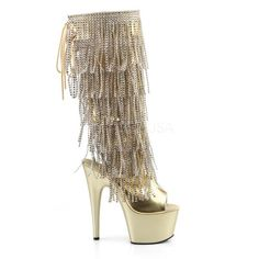 Gold Strass 18 cm ADORE 2024RSF womens fringe boots high heels