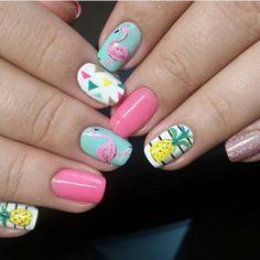 pink Flamingo nailspinapple and flamingo nails Flamingos spring summer nail art Tropical Nails Cute Summer Nail Designs, Cute Summer Nails, Cute Nails, Summer Nail Art, Spring Nails, Pineapple Nails, Flamingo Nails, Nailed It, Vacation Nails