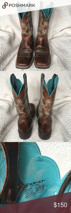 ARIAT COWBOY BOOTS ***BEAUTIFUL*** ARIOT women's cowboy boots! Only worn a handful of times. They have a few scuffs/scratches on them [pictured] but they are still great boots! I just don't wear them any more. ARIOT Shoes Heeled Boots