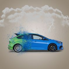 The iconic and legendary Focus RS MK2 exploding into the new gorgeous Focus RS MK3! We created this on Photoshop Elements! #Ford #FocusRS #fordperformance #art #design