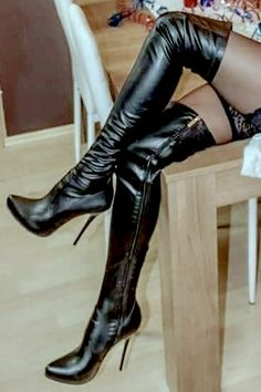 Thigh High Boots Heels, Hot High Heels, Womens High Heels, Heeled Boots, Thigh High Leather Boots, Leder Boots, Nylons Heels, Stiletto Shoes, Sexy Boots