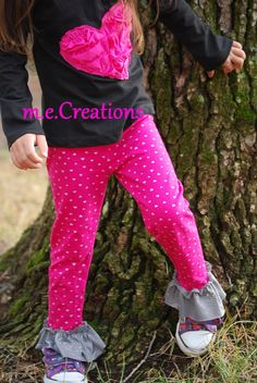 HeartsnRuffles Tee and Ruffle Legging Set by mariaconde on Etsy, $30.00