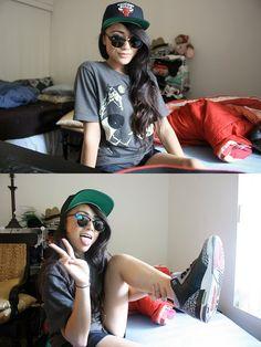 J's and snapback girl