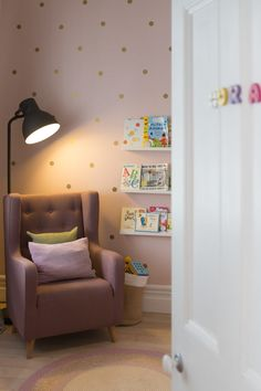 A polka dot princess nursery. It was essential that we designed a really comfy reading and nursing corner as this is where hours would be spent. Dusty Pink Bedroom, Pink Bedroom Decor, Master Bedroom Interior, Baby Bedroom, Girls Bedroom, Bedroom Ideas, Nursery Ideas, Nursery Inspiration, Interior Inspiration