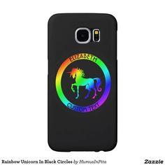 Rainbow Unicorn In Black Circles Samsung Galaxy S6 Cases