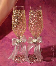 Skleničky na šampaňské - svatební * ručně malované sklo zlatem ♥